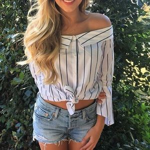 Leith S Off the Shoulder Striped Button Up Blouse